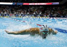 Michael Phelps during the men's 100m butterfly finals in the U.S. Olympic swimming team trials in Omaha, Nebraska.    Rob Schumacher-USA TODAY Sports