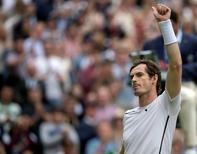 Jul 4, 2016; London, United Kingdom; Andy Murray (GBR) celebrates match point during his match against Nick Kyrgios (AUS) on day eight of the 2016 The Championships Wimbledon. Mandatory Credit: Susan Mullane-USA TODAY Sports