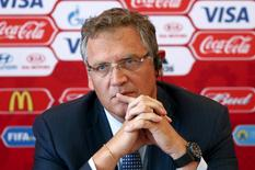 FIFA secretary general Jerome Valcke attends a news conference during his visit to Samara, one of the 2018 World Cup host cities, Russia, June 10, 2015. REUTERS/Maxim Zmeyev/File Photo