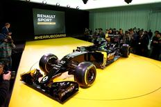 The new Renault RS16 Formula One racing car is seen during its official presentation at the company's research center, the Technocentre, in Guyancourt, near Paris, France, February 3, 2016. REUTERS/Benoit Tessie
