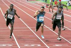 Ameer Webb of the U.S. (L-R), winner Andre De Grasse of Canada, Michael Rodgers of the U.S. and Kim Collins of St Kitts and Nevis compete in the men's 100 meters during the 2016 IAAF Oslo Diamond League athletics meeting at the Bislett Stadium in Oslo, Norway on June 9, 2016. NTB Scanpix/Vidar Ruud/ via REUTERS