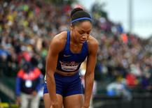 Jul 10, 2016; Eugene, OR, USA; Allyson Felix reacts after placing fourth in the women's 200m in 22.54 during the 2016 U.S. Olympic Team Trials at Hayward Field. Mandatory Credit: Kirby Lee-USA TODAY Sports