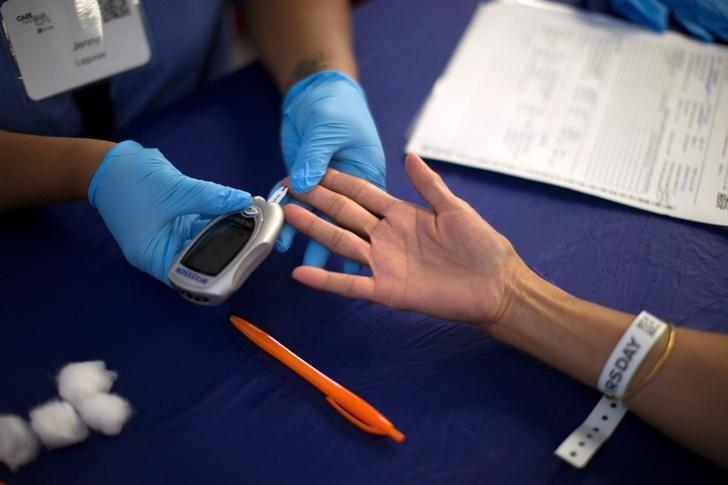 A person receives a test for diabetes during Care Harbor LA free medical clinic in Los Angeles, California September 11, 2014. REUTERS/Mario Anzuoni/File Photo