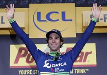 Cycling - Tour de France cycling race - The 197 km (122.4 miles) Stage 10 from Escaldes-Engordany, Andorra to Revel, France - 12/07/2016 - Orica-BikeExchange rider Michael Matthews of Australia reacts on the podium.     REUTERS/Juan Medina
