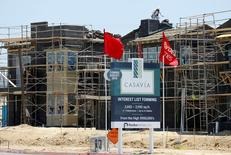 Construction of single family homes by Pardee Homes is seen in San Diego, California, U.S. June 22, 2016.        REUTERS/Mike Blake