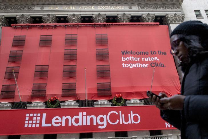 A Lending Club banner hangs on the facade of the the New York Stock Exchange in New York, New York, United States December 11, 2014.   REUTERS/Brendan McDermid/File Photo