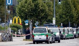 The entrance of a McDonalds restaurant is seen near the Olympia shopping mall, where yesterday's shooting rampage started, in Munich, Germany, July 23, 2016.   REUTERS/Michael Dalder   - RTSJAGY