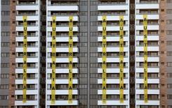 Banners marcando a acomodação dos atletas australianos pendurados na fachada da Vila Olímpica Rio 2016 no Rio de Janeiro, Brasil 23/07/16 REUTERS/Stoyan Nenov