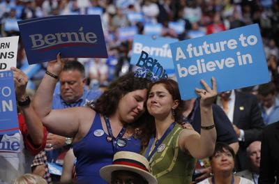 Bernie backers at the DNC