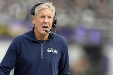 Dec 13, 2015; Baltimore, MD, USA;  Seattle Seahawks head coach Pete Carroll walks down the sidelines during the second half against the Baltimore Ravens at M&T Bank Stadium. Seattle Seahawks defeated Baltimore Ravens 35-6.  Mandatory Credit: Tommy Gilligan-USA TODAY Sports