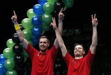 Badminton - Yonex All England Open Badminton Championships - Barclaycard Arena, Birmingham - 13/3/16 Russia's Vladimir Ivanov and Ivan Sozonov celebrate victory in the men's doubles final  Action Images via Reuters / Andrew Boyers Livepic