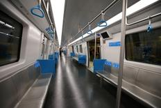 A general view of the interior of the new metro line in Rio de Janeiro prior to the start of the Rio 2016 Olympic Games. Mandatory Credit: Rob Schumacher-USA TODAY Sports
