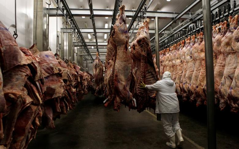 A worker arranges slaughtered cattle in the freezing room in the Marfrig Group slaughter house in Promissao, 500 km northwest of Sao Paulo October 7, 2011.      REUTERS/Paulo Whitaker