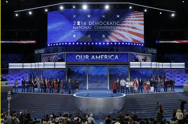Congressional candidates that are running for office and being supported by the Democratic Congressional Campaign Committee appear onstage on the third day of the Democratic National Convention in Philadelphia, Pennsylvania, U.S. July 27, 2016. REUTERS/Mike Segar