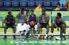 2016 Rio Olympics - Basketball - Preliminary - Men's training session - Carioca Arena 1 - Rio de Janeiro, Brazil - 04/08/2016. Harrison Barnes (USA) of USA, Jimmy Butler (USA) of USA, Demar DeRozan (USA) of USA, Demarcus Cousins (USA) of USA and Deandre Jordan (USA) of USA attend a training session. REUTERS/Jim Young