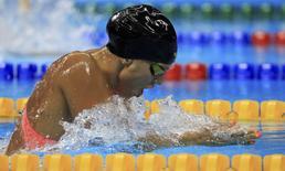 2016 Rio Olympics - Swimming - Preliminary - Women's 100m Breaststroke - Heats - Olympic Aquatics Stadium - Rio de Janeiro, Brazil - 07/08/2016. Yulia Efimova (RUS) of Russia competes.    REUTERS/Dominic Ebenbichler
