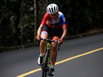 2016 Rio Olympics - Cycling Road - Final - Women's Road Race - Fort Copacabana - Rio de Janeiro, Brazil - 07/08/2016. Annemiek van Vleuten (NED) of Netherlands competes. REUTERS/Eric Gaillard