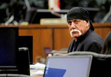Terry Bollea, aka Hulk Hogan, sits in court during his trial against Gawker Media, in St Petersburg, Florida March 17, 2016.  Hogan accused Gawker of leaking his racist comments from a secretly-recorded sex tape in a lawsuit filed on May 2, 2016, in Florida.  REUTERS/Dirk Shadd/Tampa Bay Times/Pool via Reuters