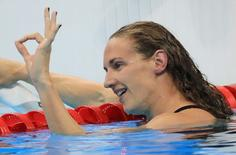 2016 Rio Olympics - Swimming - Final - Women's 200m Individual Medley Final - Olympic Aquatics Stadium - Rio de Janeiro, Brazil - 09/08/2016. Katinka Hosszu (HUN) of Hungary reacts after winning the gold medal.    REUTERS/Dominic Ebenbichler