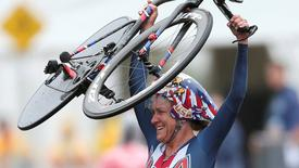 Kristin Armstrong of USA celebrates after winning. REUTERS/Matthew Childs