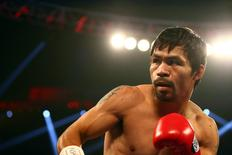Manny Pacquiao fights against Timothy Bradley at MGM Grand Garden Arena. Mandatory Credit: Mark J. Rebilas-USA TODAY Sports