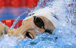 2016 Rio Olympics - Swimming - Preliminary - Women's 800m Freestyle - Heats - Olympic Aquatics Stadium - Rio de Janeiro, Brazil - 11/08/2016. Katie Ledecky (USA) of USA competes on her way to seting a new Olympic record. REUTERS/Dominic Ebenbichler  TPX IMAGES OF THE DAY