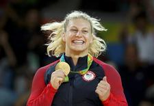 2016 Rio Olympics - Judo - Victory Ceremony - Women -78 kg Victory Ceremony - Carioca Arena 2 - Rio de Janeiro, Brazil -11/08/2016. Kayla Harrison (USA) of USA poses with her medal. REUTERS/Stoyan Nenov
