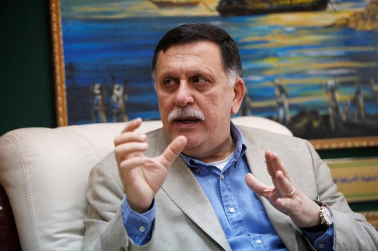 Prime Minister of Libya's unity government Fayez Seraj speaks during an interview with Reuters at his office in the naval base of Tripoli, Libya, June 3, 2016. REUTERS/Ismail Zitouny