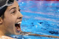 2016 Rio Olympics - Swimming - Final - Women's 200m Backstroke Final - Olympic Aquatics Stadium - Rio de Janeiro, Brazil - 12/08/2016. Maya DiRado (USA) of USA celebrates after winning.   REUTERS/Marcos Brindicci