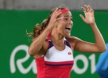 Monica Puig comemora medalha de ouro no Rio.  13/08/2016.     REUTERS/Toby Melville