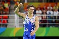 2016 Rio Olympics - Artistic Gymnastics - Final - Men's Floor Final - Rio Olympic Arena - Rio de Janeiro, Brazil - 14/08/2016. Max Whitlock (GBR) of Britain reacts. REUTERS/Mike Blake