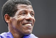 Athletics - Great CityGames Manchester 2015 - Manchester - 10/5/15. Ethiopia's Haile Gebrselassie during an interview after the race where he announced his retirement. Action Images via Reuters / Andrew Boyers