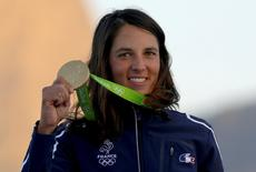 2016 Rio Olympics - Sailing - Preliminary - Women's Windsurfer - RS:X - Victory Ceremony - Marina de Gloria - Rio de Janeiro, Brazil - 14/08/2016. Charline Picon (FRA) of France poses with her gold medal.  REUTERS/Brian Snyder