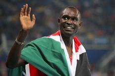 David Rudisha, do Quênia, após vitória na Rio 2016.       15/08/2016     REUTERS/Sergio Moraes
