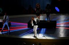 File Photograph of British singer John Newman and his band performing on stage during the closing ceremony of the 1st European Games in Baku, Azerbaijan, June 28 , 2015. REUTERS/Stoyan Nenov