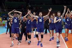 2016 Rio Olympics - Volleyball - Men's Semifinals Italy v USA - Maracanazinho - Rio de Janeiro, Brazil - 19/08/2016. Italy's players celebrate winning.    REUTERS/Yves Herman