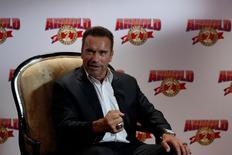 Ator e ex-fisiculturista Arnold Schwarzenegger durante entrevista em Hong Kong 19/08/2016 REUTERS/Bobby Yip