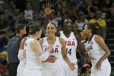 2016 Rio Olympics - Basketball - Final - Women's Gold Medal Game USA v Spain - Carioca Arena 1 - Rio de Janeiro, Brazil - 20/8/2016. Team USA players celebrate. REUTERS/Jim Young