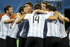 Argentina comemora ouro no hóquei sobre grama.   18/08/2016.   REUTERS/Vasily Fedosenko