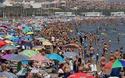 La ocupación en los hoteles españoles y los precios de las reservas prolongaron su alza en el mes de julio, impulsados por el creciente número de visitas de los turistas extranjeros, mostró el martes un sondeo. En la imagen, cientos de personas disfrutan de la playa en Valencia, el 14 de agosto de 2016. REUTERS/Heino Kalis