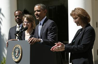 Obama speaks from the Rose Garden of the White House to announce his three...