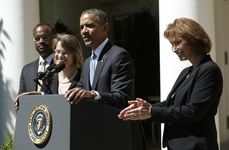 U.S. President Barack Obama speaks from the Rose Garden of the White House to announce his three nominees to fill vacancies on the United States Court of Appeals for the District of Columbia in Washington June 4, 2013. The nominees will be attorney Patricia Ann Millett (R), Georgetown law professor Cornelia Pillard (behind Obama) and U.S. District Court Judge Robert Leon Wilkins (L). REUTERS/Kevin Lamarque/File Photo