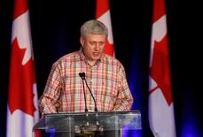 Former Canadian Prime Minister Stephen Harper addresses supporters at the annual Conservative Calgary Stampede BBQ in Calgary, Alberta, Canada July 9, 2016. REUTERS/Todd Korol