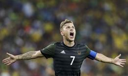 Alemão Meyer comemora gol marcado contra o Brasil na final olímpica no Maracanã. 20/08/2016 REUTERS/Bruno Kelly