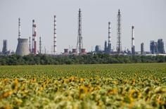 Вид на Лисичанский НПЗ. 11 августа 2016 года. Фьючерсы на нефть выросли во вторник, поскольку доллар отошёл от максимума двух недель, достигнутого днём ранее, однако сомнения в том, что нефтепроизводители договорятся о заморозке добычи на встрече в сентябре, продолжают оказывать давление на котировки. REUTERS/Gleb Garanich