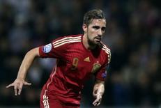 Atacante espanhol Paco Alcácer durante partida da seleção.         09/10/2014          REUTERS/David W Cerny