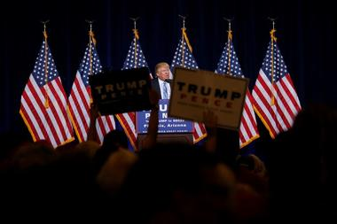 Republican presidential nominee Donald Trump speaks at a campaign rally in...