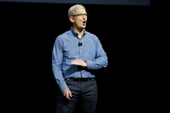 Apple Inc. CEO Tim Cook speaks on stage at the company's World Wide Developers Conference in San Francisco, California, U.S., June 13, 2016. REUTERS/Stephen Lam