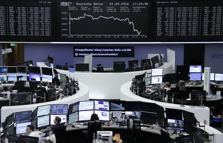 Traders work at their desks in front of the German share price index, DAX board, at the stock exchange in Frankfurt, Germany, September 1, 2016. REUTERS/Staff/Remote