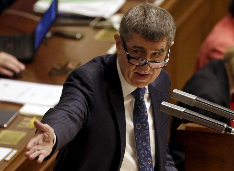 Czech Finance Minister Andrej Babis addresses an extraordinary parliamentary session to debate his alleged tapping of European Union subsidies for one of his companies in Prague, Czech Republic, March 23, 2016. REUTERS/David W Cerny